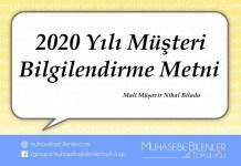 2020 Yılı Müşteri Bilgilendirme Metni