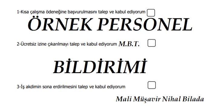 ÖRNEK PERSONEL BİLDİRİM FORMU
