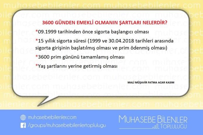 3600 GÜNDEN EMEKLİ OLMANIN ŞARTLARI NELERDİR