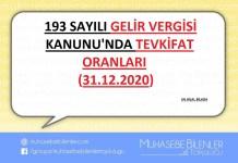 193 SAYILI GELİR VERGİSİ KANUNU TEVKİFAT ORANLARI