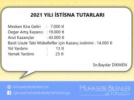 2021 YILI İSTİSNA TUTARLARI