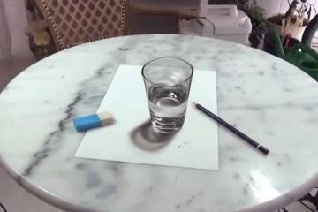 dibujo 3d vaso