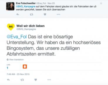 Hier wurden einige Kommentare von Fahrgästen sehr keck von der BVG beantwortet. (Quelle: BVG)