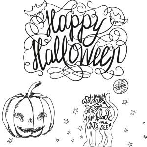 Halloween krijtstift raamtekening sjabloon