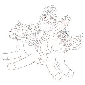 Sinterklaas op zijn paard tekening