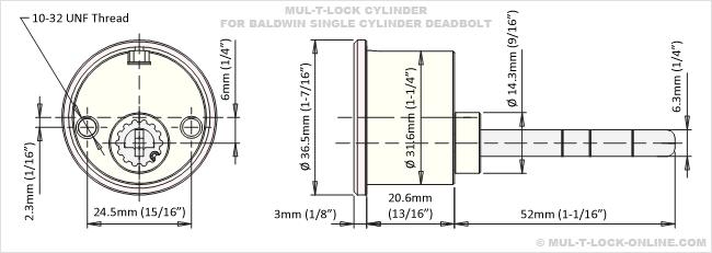 MUL-T-LOCK ONLINE MUL-T-LOCK MT5+ Cylinder for BALDWIN