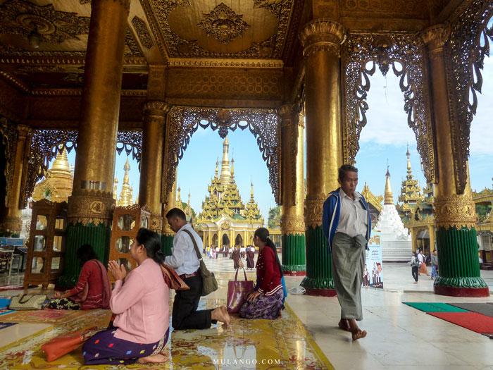 Myanmar, moment de prière à la Pagode Shwedagon