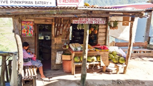 A Batad, aux Philippines, boutique devant le point de vue