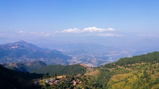 Point de vue à Bandipur sur les chaines des Himalaya