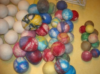 various sizes of felted balls