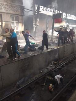 بالفيديو والصور قتلى وجرحى اثر اندلاع حريق بمحطة قطارات القاهرة