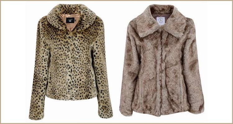 Foto: Reprodução. 1) Casaqueto de pêlo sintético com estampa animal print e 2) Casaco de pêlo sintético na cor marrom-claro.