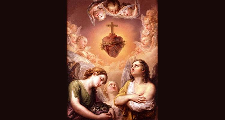 """""""Ángeles adorando el Corazón de Jesús"""" - Vicente López Portaña (1795)."""