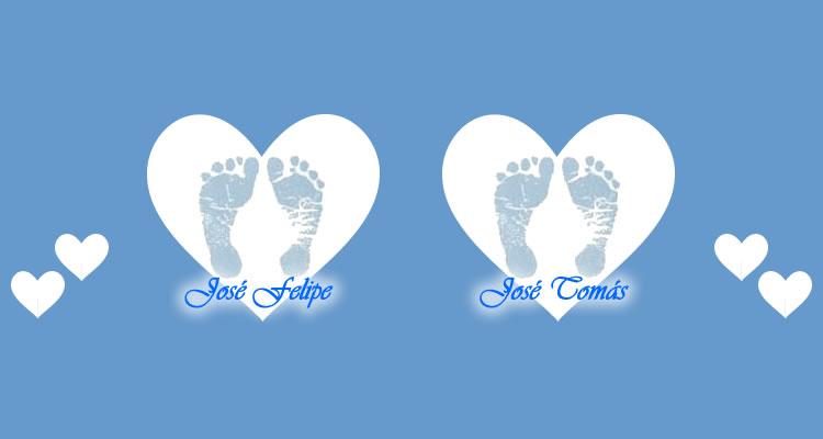 Pezinhos de bebês: José Felipe e José Tomás