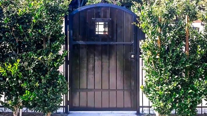 Black wood entry gate