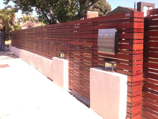 Horizontal slated wood fence