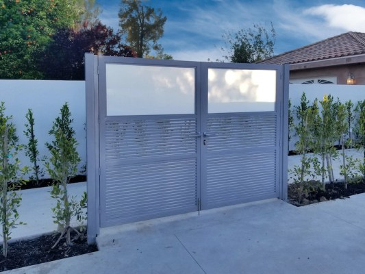 Mulholland Double Swing Gate Contemporary Hi-Tech and Glass