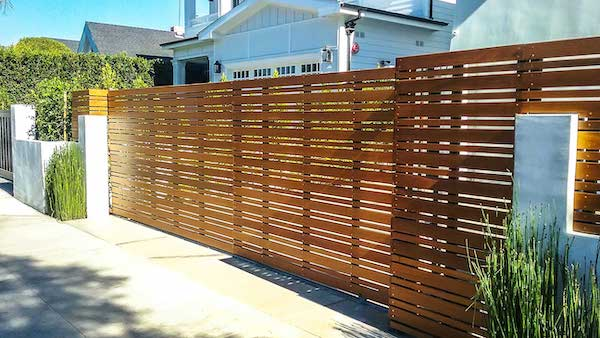 Ironwood fence and gate fabricated and installed by Mulholland Brand