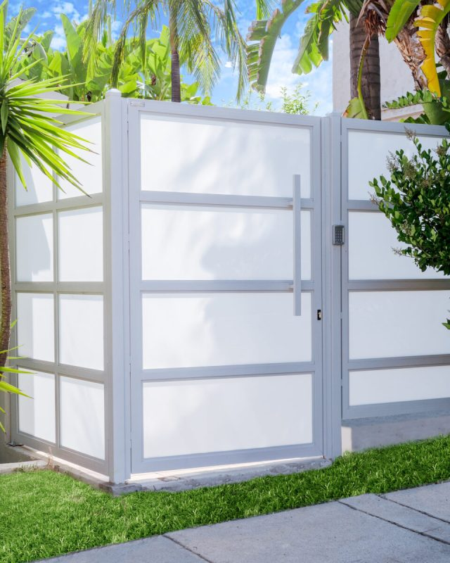 white glass and aluminum side gate