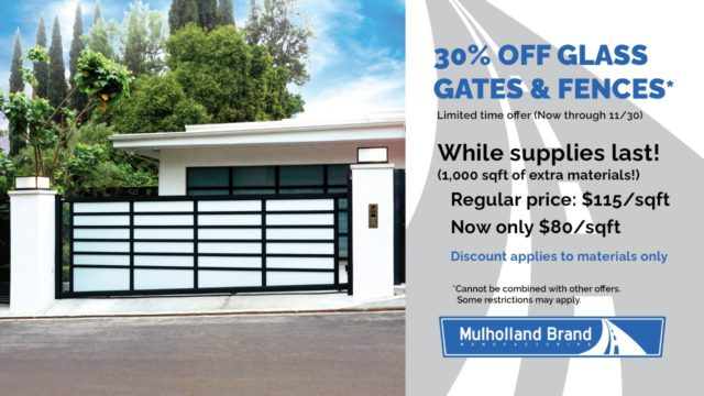 30 percent off glass gates and fences November 2020 promotion