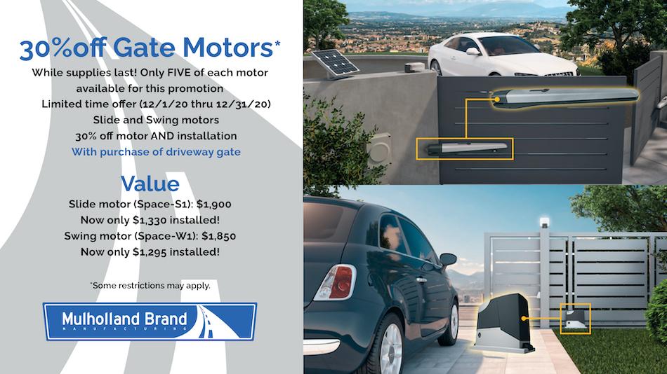 30% off gate motors Mulholland Brand