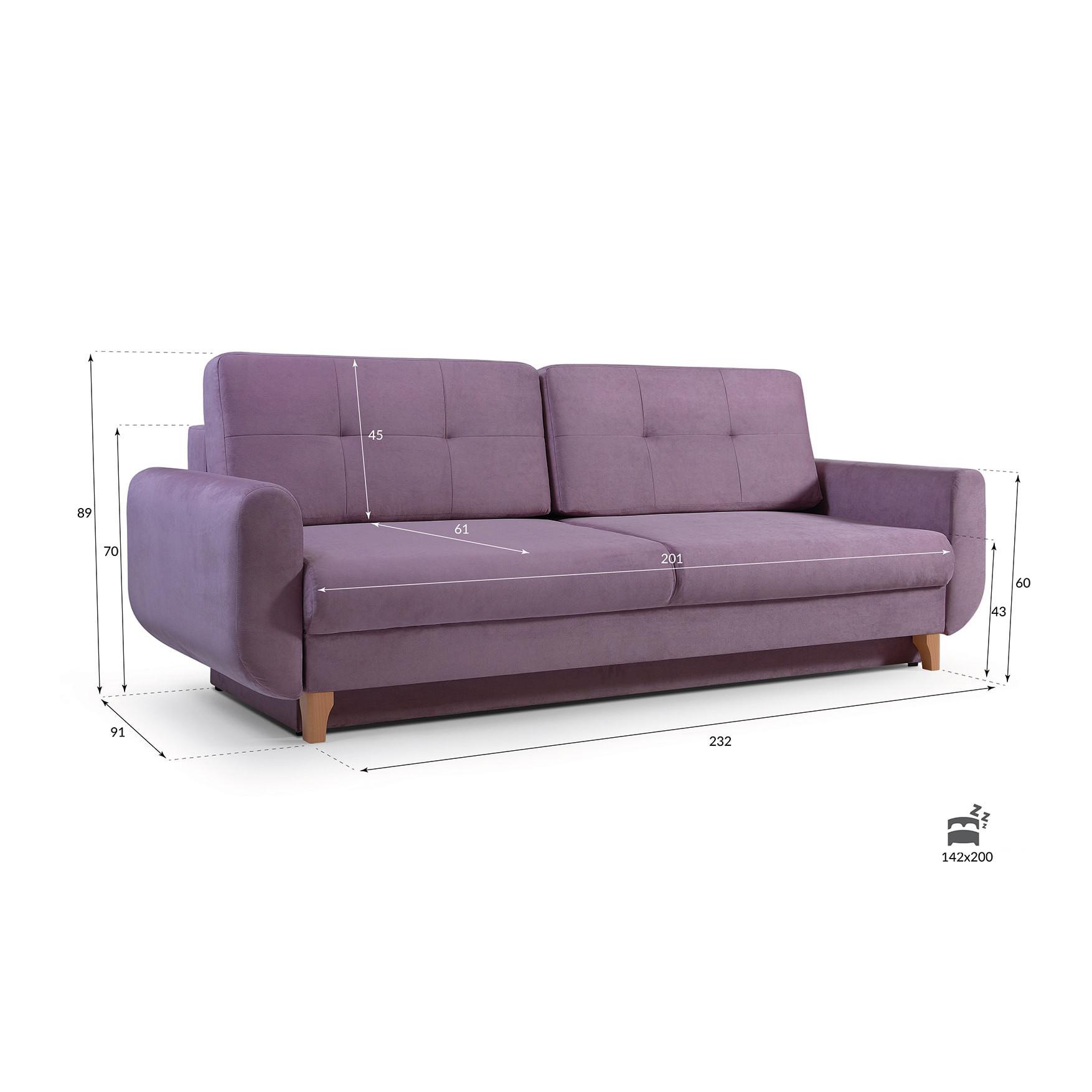 Elegantes Couch mit Schlaffunktion Sofa Schlafsofa Wohnzimmercouch Velour SAPHIR