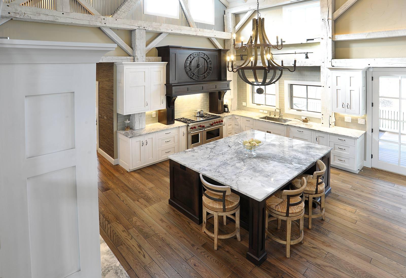 barn house kitchen 3 basin sink mullet cabinet  rebuilt timber frame home