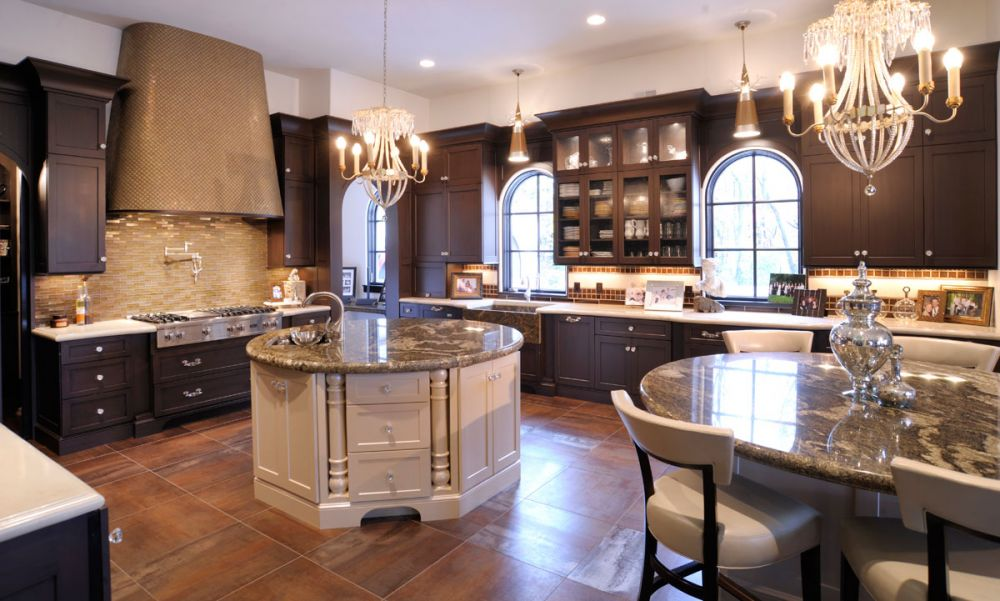 Mullet Cabinet — Elegant Kitchen With Dual Round Islands