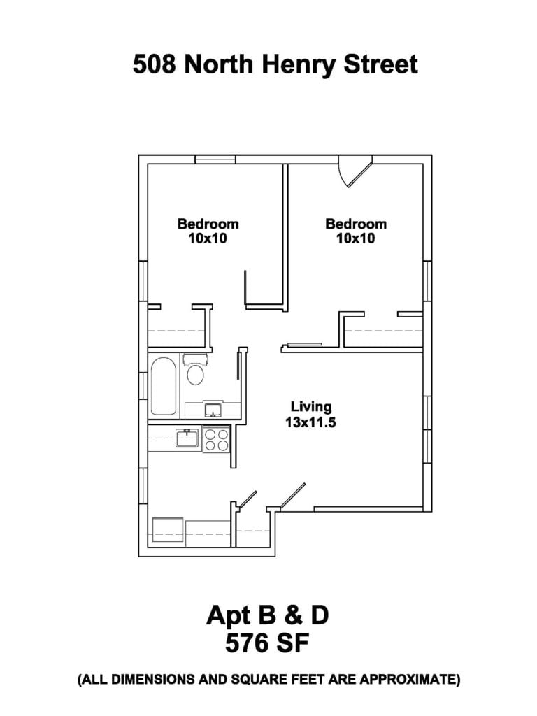 508 N. Henry St. #B 2 bedroom 576 sq. ft. Rent $1055