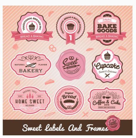 Conjunto de design de rótulos de padaria e pão doce