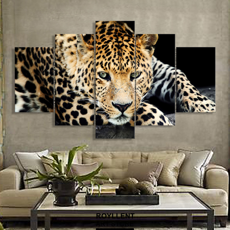5 Panels Wild Cheetah Group Artwork  Multi Canvas Art
