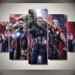 Large Canvas Art For Living Room Home Theater Ideas 5 Panels Marvel Avengers Group Artwork | Multi