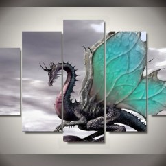 Kitchen Decor Cheap Aid Coffee Makers 5 Panels Dragon Group Artwork | Multi Canvas Art