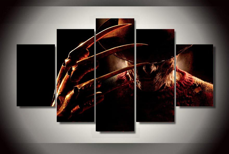 5 Panels Freddy Krueger Group Artwork  Multi Canvas Art