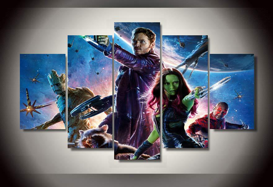 5 Panels Marvel Guardians of the Galaxy  Multi Canvas Art