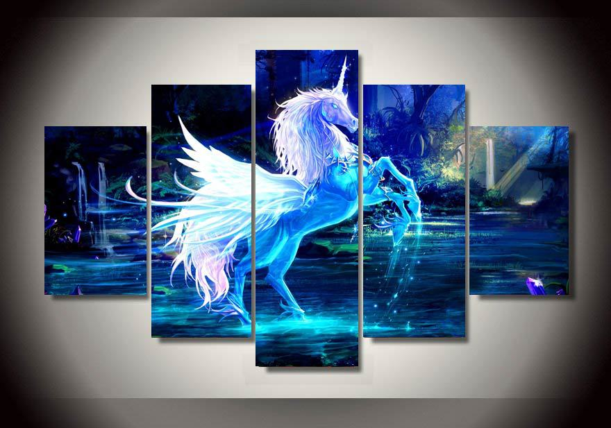 kitchen decor cheap faucet spray head 5 panels fancy unicorn group artwork | multi canvas art