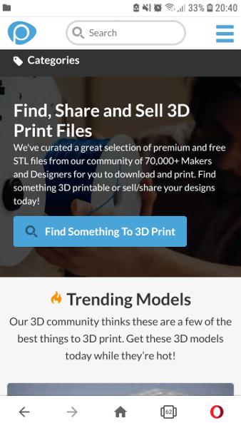 Pinshape, eine Seite für 3D Druck Dateien, im Screenshot eines Smartphones.