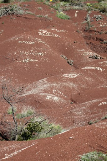 Romantic messages spelled out in stones.