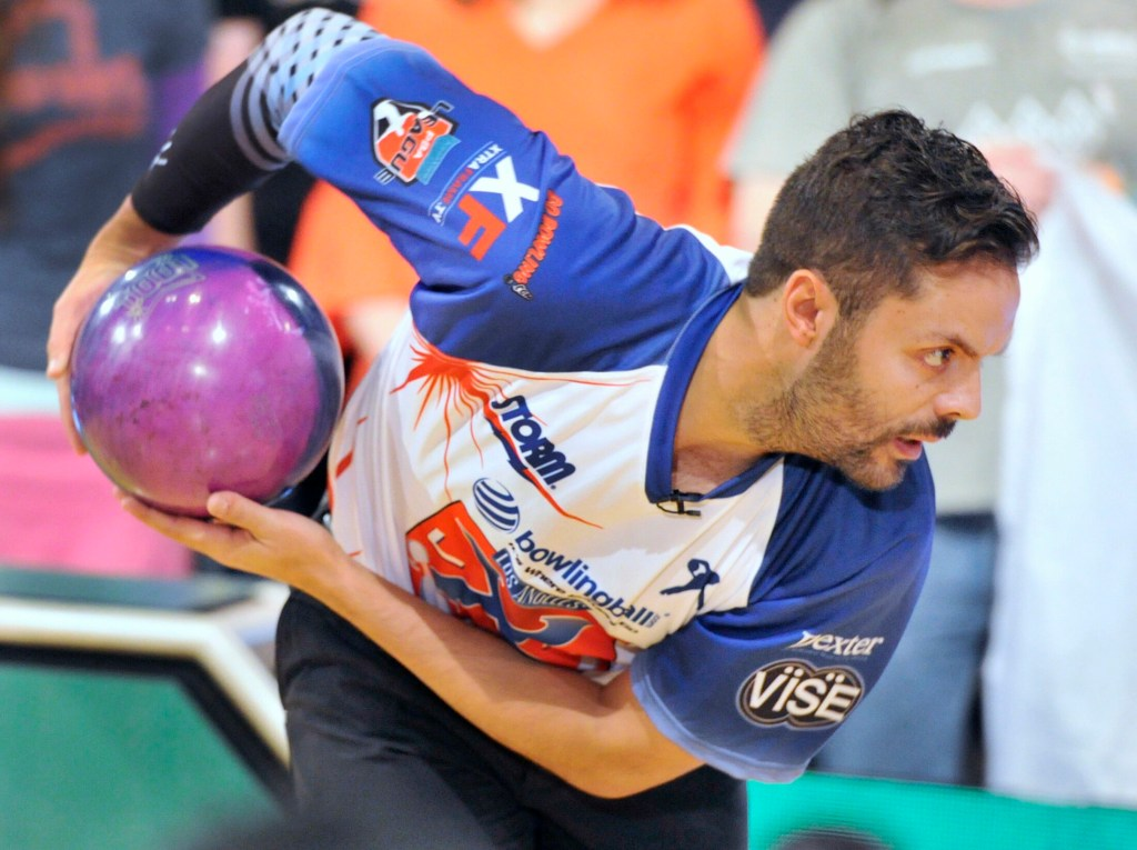 Pro bowler Jason Belmonte, from Austrailia, uses a two handed style of bowling. He'll be in Portland this week for the inaugural PBA Playoffs. (Photo by John Ewing/Staff Photographer)