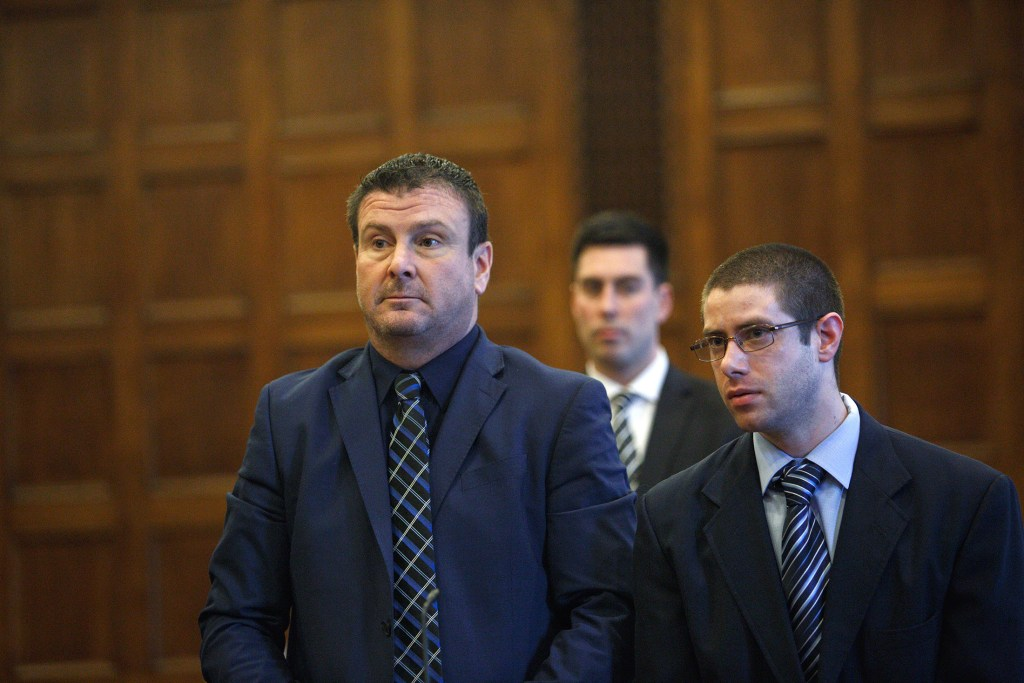 John D. Williams of Madison stands with his attorney Verne E. Paradie Jr., left, during a hearing in Portland on Monday. Williams is charged in the shooting death of Cpl. Eugene Cole in the early hours of April 25, 2018, in Cole's hometown, Norridgewock. His trial is tentatively scheduled for June.