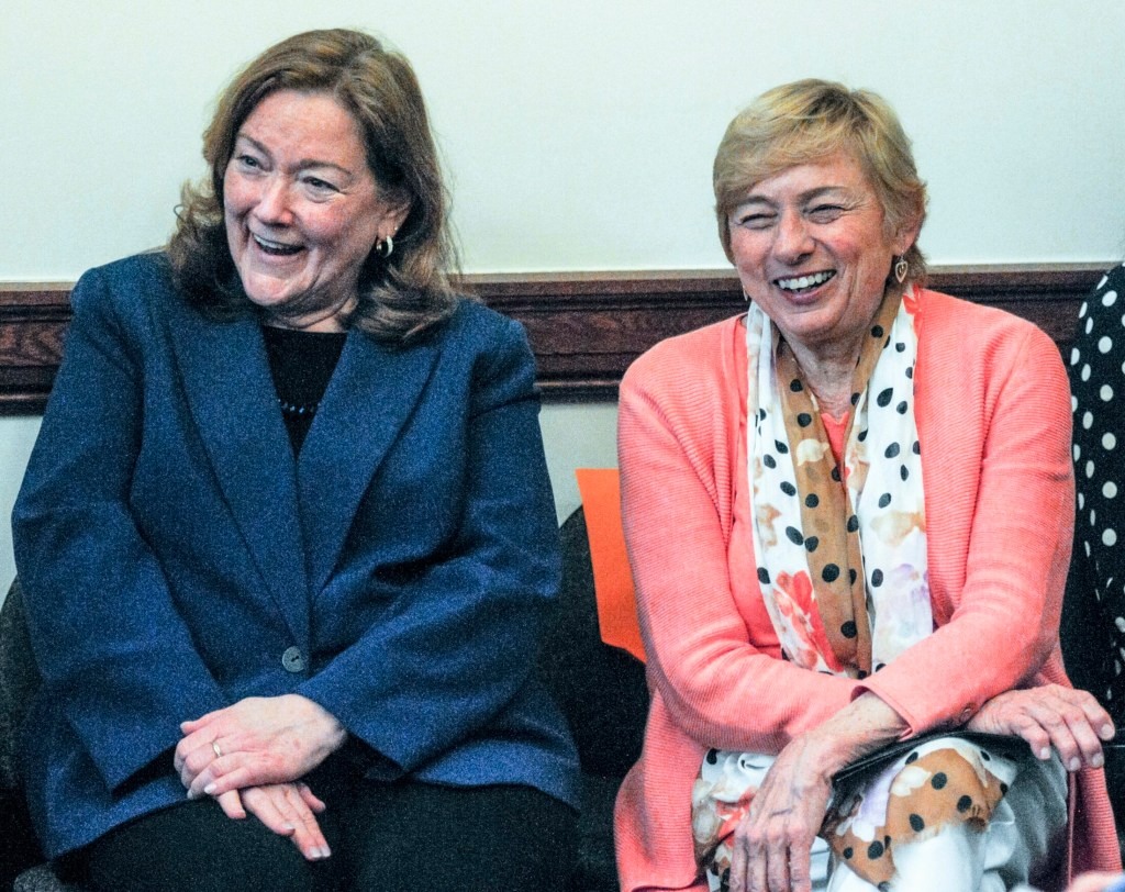 Chief Justice Leigh Saufley, left, and Gov. Janet Mills attend a Judiciary Committee  public hearing on a bill to change state laws that refer to the governor and state justices by male pronouns, at the Maine State House in Augusta on Thursday. Democratic Gov. Janet Mills was elected in 2018 as the state's first female governor. In 2001, Saufley was sworn in as the state's first female chief justice.