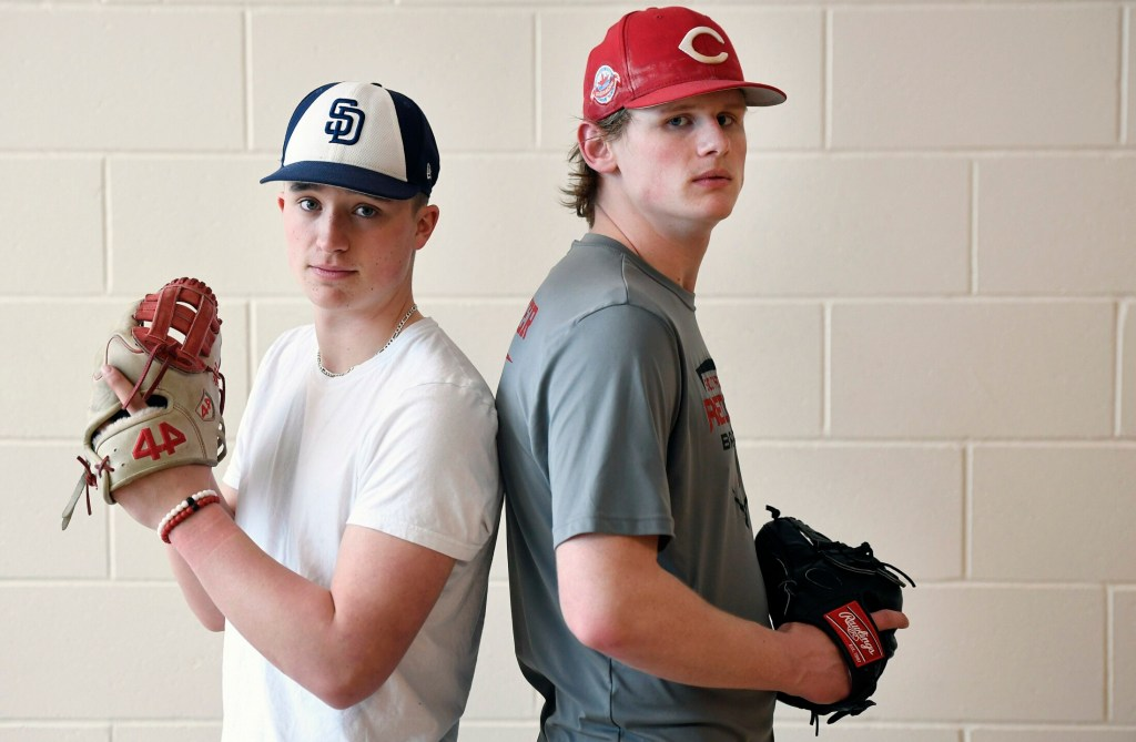 South Portland High junior pitchers Noah Lewis, left, and Hunter Owen each have scholarship offers from NCAA Division I schools.