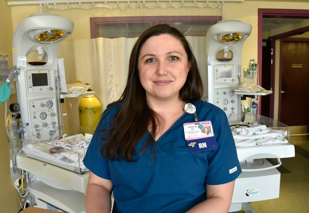 Northern Light registered nurse Jessie Wing, shown Tuesday in a birthing room at Inland Hospital in Waterville, has been chosen for the Customer Service Stardom Award by the Mid-Maine Chamber of Commerce.