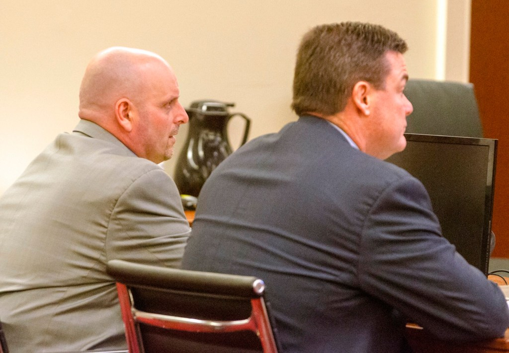 Charles York, left, and his defense attorney, Robert Andrews, take part in a hearing Tuesday at the Capital Judicial Center in Augusta.