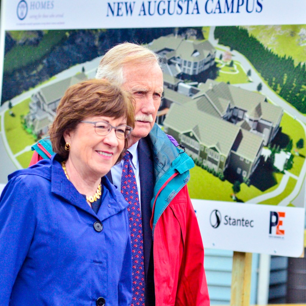 U.S. Sens. Susan Collins and Angus King attend the groundbreaking of a new Maine Veterans' Home on Thursday in Augusta.