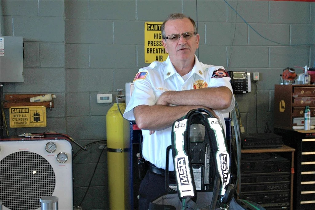 Old Orchard Beach Fire Chief Ed Dube, photographed at the fire station shortly after he became chief in 2016.