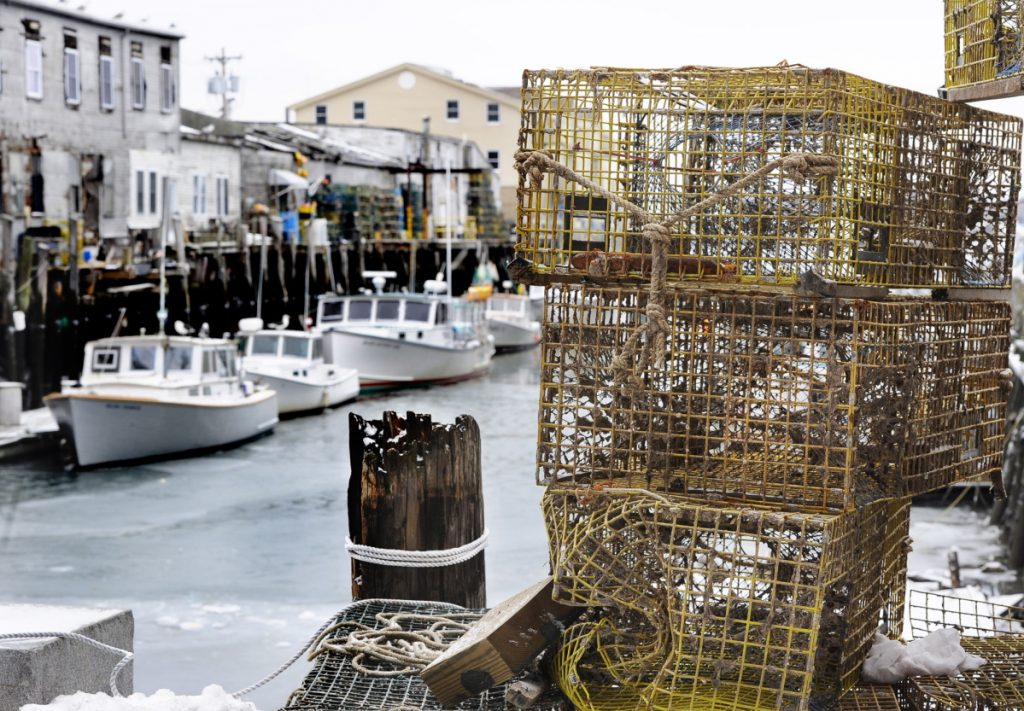 Lobster boats and traps line Custom House Wharf in Portland in 2014.