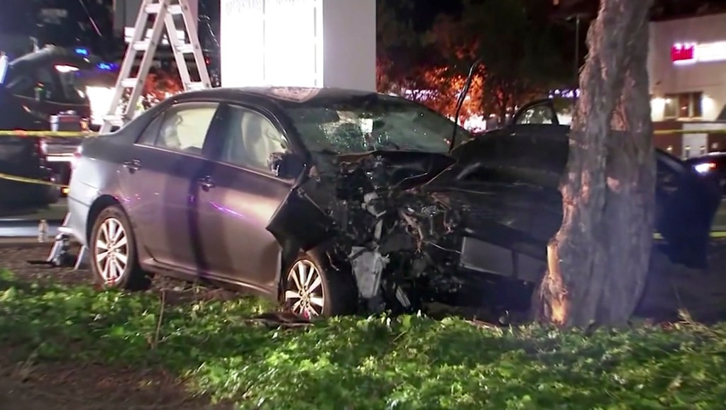 This image from video shows the scene of a car crash where several pedestrians were struck and injured in Sunnyvale, Calif. on Wednesday.