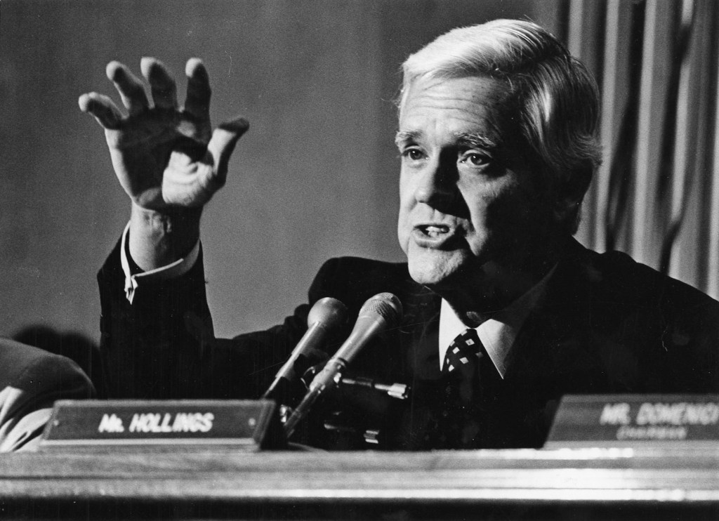 """Ernest F. """"Fritz"""" Hollings in 1982. Known for his attempts to balance the federal budget and for his sharp, often caustic tongue, Hollings died Saturday. He was 97."""
