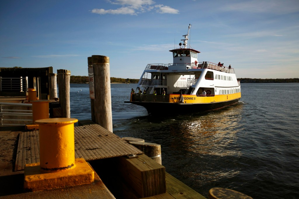 The Machigonne II leaves the dock at Peaks Island for its 6 p.m. trip to Portland on Wednesday. Casco Bay Lines is sticking to plans for a much larger replacement ferry despite the concerns of Peaks Islanders.